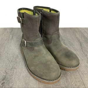UGG Gray Leather & Suede Boots W/Buckles Size 5